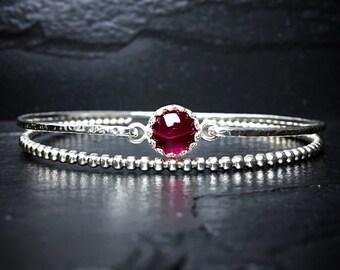 Genuine Ruby Bracelet / 14k Gold Filled or Sterling Bangle / July Birthstone / Mothers Jewelry / Gemstone Bangle / New Mom Gift