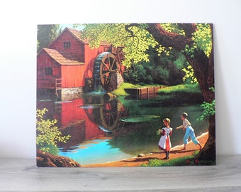 16 x 20 Vintage Detlefsen Old Mill Stream Textured Lithograph Print - Boy Girl Stream Countryside Realistic