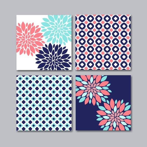 Coral Teal Navy Floral Wall ArtCoral Floral Wall ArtNavy