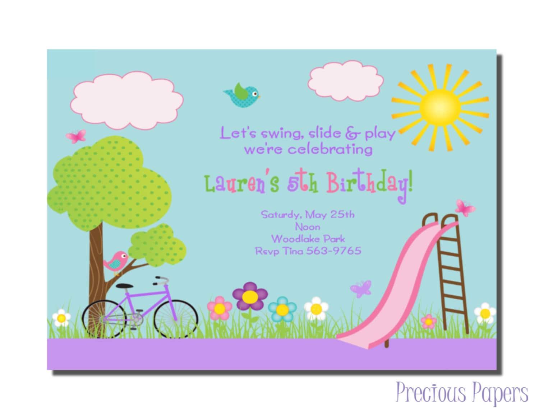 Park Party Invitations Park Birthday Party Invitations
