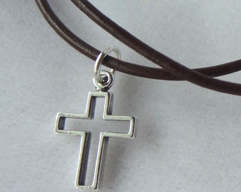 Leather and Sterling Silver Open Cross Boy Necklace Choker, First Communion Boy Gift, Confirmation Boy Necklace, Baptism Necklace,