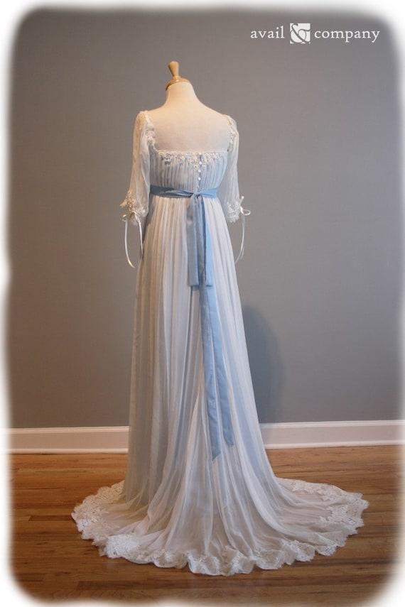 Edwardian Wedding Dress Blue Wedding Dress Custom Made