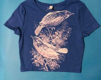 birds croptop, blue crop top, croptop, screenprinted, women crop top, screenprinted top, XS/S - M/L