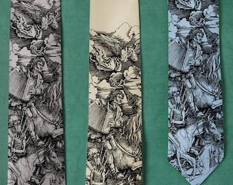 Atonal Apocalypse SILK Tie - Music Gifts for Men - Musician Gifts - Albrecht Durer Parody - Accordion Instrument - Bagpipes Necktie