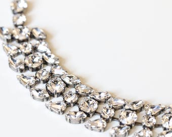 Antique Silver Bridal Bracelet, Bridal jewelry, Wedding jewelry, Swarovski Crystal, Wedding accessories, Bridesmaid