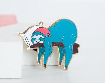 Sleeping Blue Sloth Lapel Pin, Hanging Sloth Enamel Pin, Sloth and Pillow, Hard Enamel Pins, Gold Pin