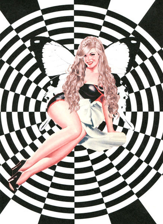 sexy blonde pin up girl fairy Wall Art Print- retro pop Art , modern art, original altered artwork, pinup girls, psychedelic hippie art,