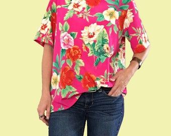 Floral Blouse/ Hot Pink Blouse/ Pink Floral Blouse/ Floral Top/ Silky Pink Top/ Yellow Floral Top/ Hawaiian Floral Top / Tropical Top