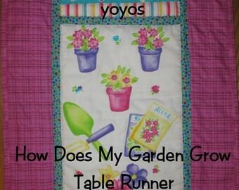 GARDEN TABLE RUNNER, Home Décor, Hostess Gift, Birthday, Mothers Day, Shower Gift