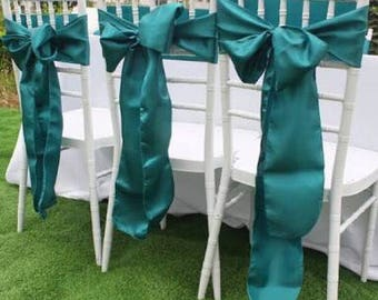 50x Teal Blue Satin Chair Sashes Ties Bows for Wedding Engagement Event Reception Ceremony Function Bouquet Christening Baptism Decoration