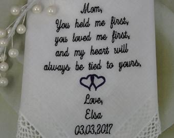 Mother Of The Bride Gift  Wedding Handkerchief  Embroidered Wedding Handkerchief  Wedding Gift For Mom Of The Bride  Daughter gift for Mom