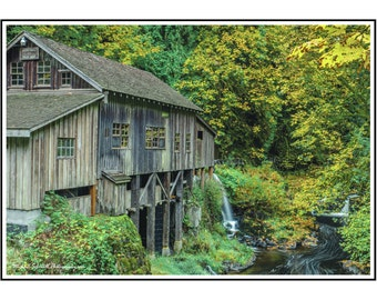 Mill At Cedar Creek Fine Art Gift Card, Landscape Architectural Paper Art, Color Digital Paper Print, Grist Mill Photographic Greeting Card