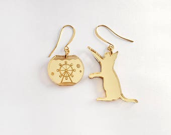 Catching Flyer earrings - gold and silver mirror acrylic laser cut earrings