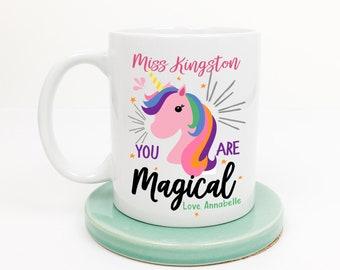 Thank you teacher rainbow unicorn mug. Personalised teacher gift idea. End of school teachers assistant | head teacher coffee mug present.