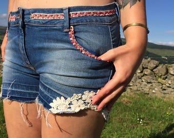Upcycled Shorts, Festival Shorts, Customized Denim Shorts, Indian Ribbon Shorts, Boho Denim Shorts, Hippie Ucycled Jean Shorts