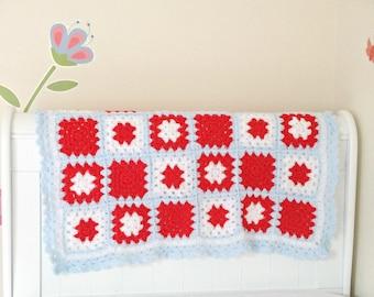 Crochet baby blanket, Crochet knitted blanket, baby afghan blanket, kids blanket, crochet throw, granny square blanket, lovey blanket,