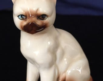 Vintage ceramic Siamese Burmese porcelain cat figurine flame point