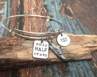 Running Bracelet Only HALF Crazy Half Marathon Jewelry Great Gifts for Runners Motivational 13.1 Fitness Jewelry