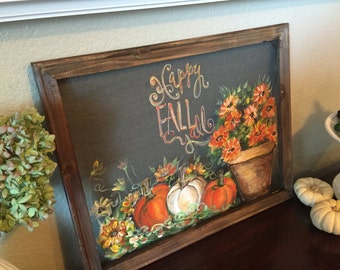 Happy fall y'all , fall decor , fall sign ,pumpkins ,window screen
