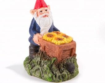 Miniature garden Gnome with Wheelbarrow - Resin - 3 inches - Fairy Garden - Yard and Garden mini - doll house - terrarium