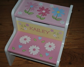 Kids Personalized 2 Step Stool  PB Daisy Garden