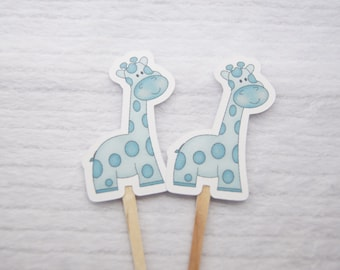 Baby Shower, Cupcake Toppers, Giraffe, Blue, Boy, Party Picks, Food Picks, Set of 12