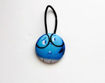 Sadness Inside Out Fabric Covered Giant Button Ponytail Holder