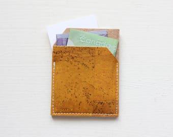 Slim Front Pocket Cork Wallet - Yellow