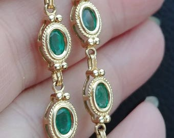 14k Gold 5.50ct Columbian Emerald Link Tennis Bracelet