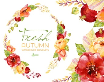 Fresh Autumn Bouquets & wreath. Handpainted watercolor clipart, wedding invitation, floral frame, greeting, diy, pomegranate, flowers