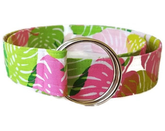 Pink and Green Palm Leaf Fabric Belt
