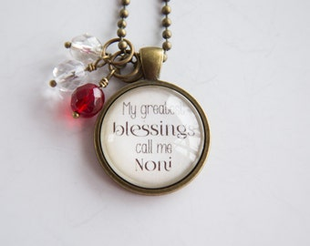 Noni's Pride Necklace - Blessed Necklace - Birthstone Jewelry - Greatest Blessings Inspirational Pendant - Text Jewelry Custom Necklace Name