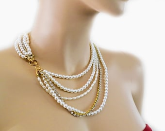 Swarovski Bridal Necklace, White Pearl Necklace, Layered Bridal Necklace with Gold Rhinestone, Bride Statement Necklace