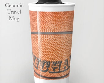 Basketball Cup-Ceramic Travel Cup-Coffee Mug-Ceramic Tumbler-12 oz Travel Cup-Basketball Tumbler-Insulated Travel Mug-Personalized Mug