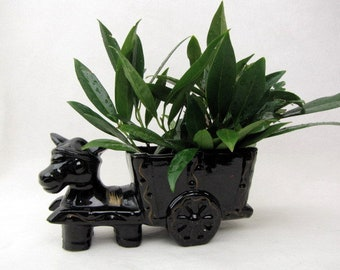 Vintage Donkey Cart Planter - 1950s - Black - High Gloss - Plants Not Included