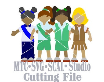 SVG Cut FilePaper Doll Bundle of 4 Girls in Uniform Cutting File SCAL Cricut MTC Silhouette Cutting File