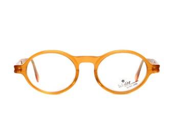 orange brown vintage eyeglasses - 40s style oval / round glasses - barniz / amarillo vintage glasses frames