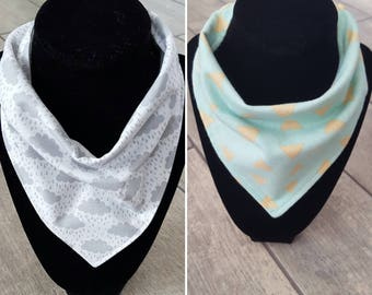 Handmade bandana drool bib - LIMITED EDITION - rain cloud and triangle patterns cotton flannel with solid cotton - baby accessories