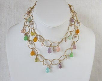 Multi Colored Chalcedony 14K Gold Filled Handmade Necklace