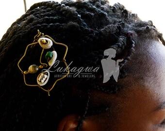 Shell Brass Hair Clip,African shell Brass hair clip,Green Brass Hair Clip