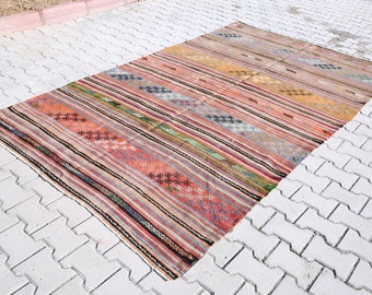 Turkish kilim, Anatolian kilim , 5'2x9'2 Feet, Vintage rug,Kilim carpet,Handwoven,area rug 280x159 cm, ethnic kilim,bohemian rug K-1016