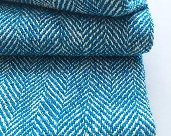 Turquoise Blue Woven Blanket Herringbone Throw