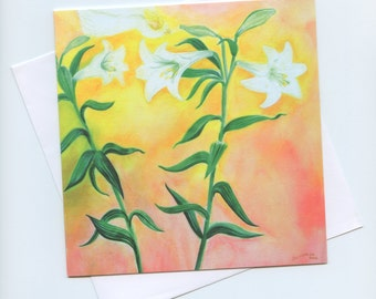 Fine art blank card, Lilies with Angel, celebrations, invitation, weddings, Mother's day, birthdays, christening, Valentines, nature table
