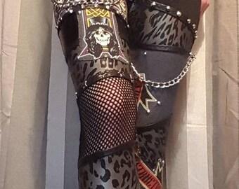 Guns n roses mixed fabric leggings. UK size 8-10