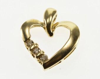 10k Diamond Channel Inset Wavy Curvy Heart Pendant Gold