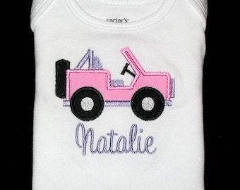 Custom Personalized Applique JEEP and NAME Bodysuit or Shirt - Pink, Lavender, and Black