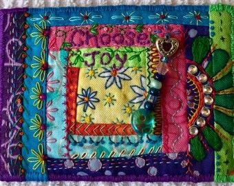 ACEO mixed media textile art Choose Joy mini crazy quilt ACEOQUILT115