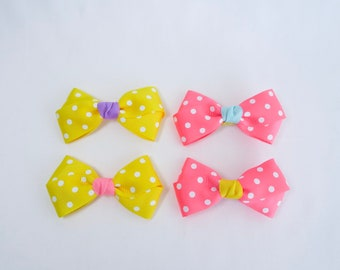 Girls hair accessories, hair bows (set of 2); Choose from Pink or Yellow