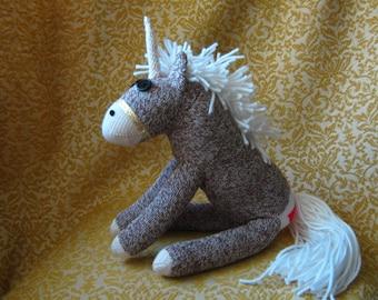 Sock Monkey Horse Pony Unicorn - Stuffed Animal Toy Plush Doll Rockford Red Heel