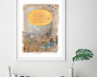 Abstract Painting Giclee Print , Fine Art Prints, Watercolor beige and gold print, Abstract art, Giclee art print, Living room art, wall art
